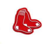 Emblema de borracha de PVC macia de vermelho da forma da peúga