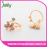El oro de la joyería de la boda larga anillos de dedo de las mujeres de lujo de los anillos