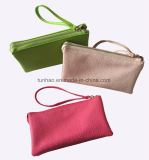 Triple Zipper Pockets Pebbled PU Leather Women Small Wristlet Bag