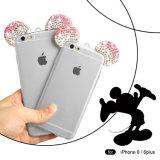다이아몬드 iPhone 6/6s를 위한 연약한 투명한 TPU 전화 상자를 가진 Bling Bling Mickey 귀
