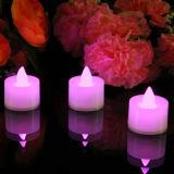 Color rosa LED Tealight de baterías de velas en caja de regalo