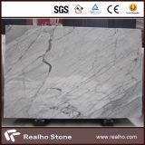 Boa laje de mármore branca de Bianco Carrara da qualidade para a parede da cozinha/assoalho/bancadas/partes superiores da vaidade/partes superiores de tabela