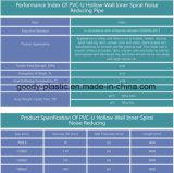 Tubería de drenaje de tubo de mufla espiral PVC-U de primera calidad