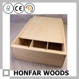 미완성 3개의 병 나무로 되는 포도주 상자 나무로 되는 포장 상자
