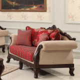 Sofá clássico americano do sofá antigo da sala de visitas com jogo clássico da tabela