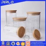 Glasglas mit Gummidichtungs-hölzerner Bambuskappe für Gewürz-Nahrungsmittelspeicher