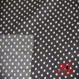 Ткань 100% черного белого МНОГОТОЧИЯ полиэфира шифоновая для платья/кофточки