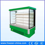 Green Color Commercial Dairy Beverage Vegetables Refrigerator Showcase
