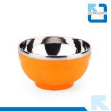 Double bol de riz coloré d'acier inoxydable de mur pour le jeu alimentant de cuvette de bébé