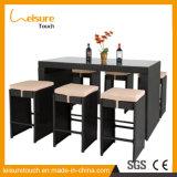 Haltbare neue fördernde Garten-Möbel-hoher Schemel-Rattan-Stab-Stuhl und Tisch-Set