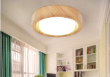 Modernes Metall und Glas-LED-Decken-Lampen-Lichter beendet im hölzernen Korn-Farbanstrich für Schlafzimmer, Dia35cm