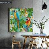 Het katoenen Olieverfschilderij van het Canvas van Papegaai en Gadenia
