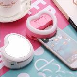 Luz de destello ligera recargable de la dimensión de una variable LED del corazón de Selfie con el espejo
