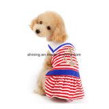 Robe de chien à rayures nautiques Vêtements pour animaux domestiques