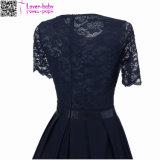 섹시한 포도 수확 여름 레이스 Dress L36176-4 둥근 목 간결 소매 공주