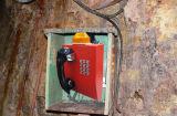 Telefono certo di emergenza SOS, telefono del traforo con il falò del LED