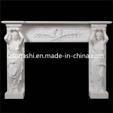Kundenspezifisches Design Natural Antique White Marble Stone Fireplace für Outdoor