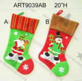 Decoración de la Navidad, Santa y muñeco de nieve Stocking-2asst