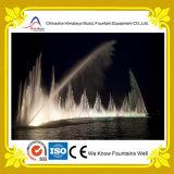 Fontana liscia dell'acqua di fiume dell'arco sincronizzata con musica