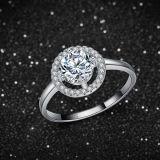 Обручальное кольцо венчика Zirconia CZ Princess Резать стерлингового серебра 925 кубическое