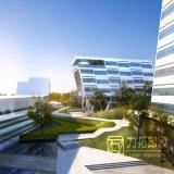 高層オフィスビルの外部の見通し3Dの写真の現実的で軽い美