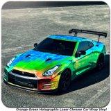 Tsautop 1.52*20m Oranje Groen Holografisch Veranderend Vinyl van het Dekkleur van de Auto van het Chroom van de Laser