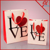 Евро Tote Valentine Gift Bags Love Applique Sparkle с всплывающий