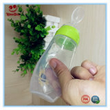 frasco de alimentação do bebê do silicone do aperto 120ml com colher