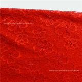Tela africana do laço do trevo Quatro-Com folhas elástico vermelho (NF1004)