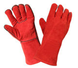Luvas protetoras da mão resistente ao calor vermelha da soldadura do trabalho do couro da segurança