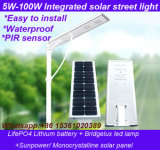 3 anos de luz de rua 5W-100W solar certificada RoHS do Ce da garantia