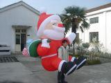 Pubblicità della parte posteriore gonfiabile della Santa di natale della decorazione di anno nuovo sopra