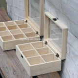 Boîte solide respectueuse de l'environnement personnalisée à thé en bois de pin avec des compartiments