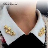 Gold-Farbe Stern-Broschen für Schmucksachen Frauen-Form-Schmucksache-Weinlese-Broschen und StifteHijab Reverspin-5A
