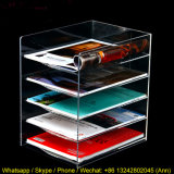 Crémaillères de magasin acryliques, étagère acrylique d'étalage de livre avec cinq rangées