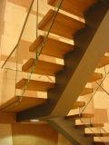 Escadaria de vidro da forma aberta popular do montante U com o passo da escadaria da madeira de carvalho e a balaustrada do vidro de Frameless