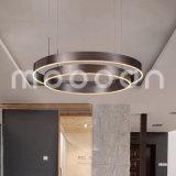 거실을%s 암갈색 현대 둥근 반지 알루미늄 펀던트 빛