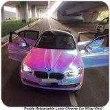 Vinile olografico dell'autoadesivo dell'automobile del bicromato di potassio del laser del Rainbow viola di Tsautop 1.52*20m