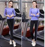 卸売88%ポリエステル12%スパンデックスのスポーツの上の女性、体操の摩耗は、長い袖のヨガ女性を越える