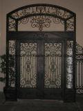 Portas de entrada do dobro do ferro feito de tomada de fábrica