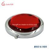 Espejo de maquillaje promocional regalo redondo de diamante rojo de lujo