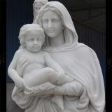 Vierge Marie Main-Découpé statue de Metrix Carrare de granit de pierre de marbre de sculpture avec l'enfant Ms-1015