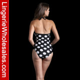Heiße verkaufenMonokini Badebekleidung weißer Polk punktiert Halter-reizvollen Bikini für Frauen