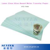 Papel de imprenta transparente azul de la transferencia de la etiqueta de la cara del agua del laser