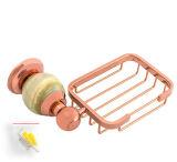De sanitaire Opgezette Zeep Dish&#160 van de Luxe van de Badkamers van Waren Muur; en Mand in Roze Goud