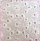 高品質100の綿によって編まれるスイスのレースファブリック(HB067)