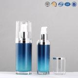 bouteille de empaquetage cosmétique de luxe acrylique en plastique argentée ovale de pompe de lotion de 15ml 30ml 50ml 120ml