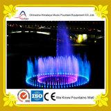 Fonte de água redonda da música com sistema de iluminação em mudança