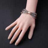 Europäische und amerikanische Anweisung-mehrschichtige Legierungs-Kette eingelegtes Diamant-weibliches Stulpe-Armband