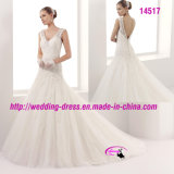 Bella principessa V-Neckline Lace Bridal Dress con i tasti